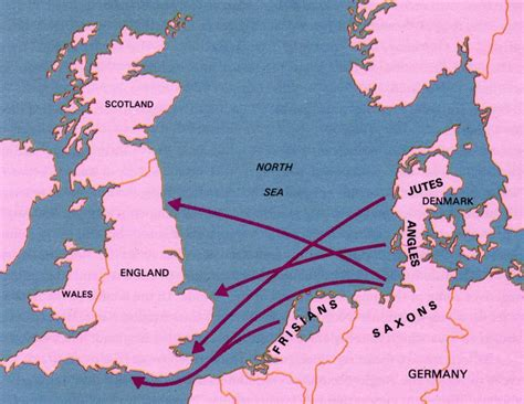 Map showing the migration of the Angles, Saxons, and Jutes