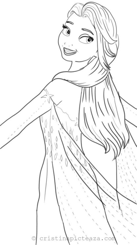 Coloring pages with Elsa in White dress - Frozen 2