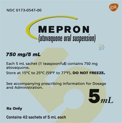 Mepron - FDA prescribing information, side effects and uses