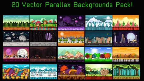20 Vector Parallax Background - Mobile Game Graphics