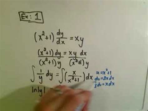 Solving Separable First Order Differential Equations - Ex