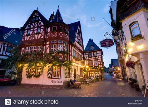 Hotel Altes Haus on the market square, Bacharach Stock