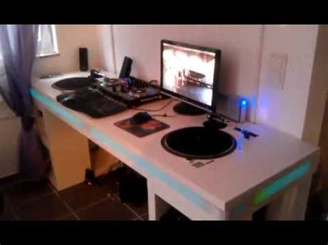 DJ Desk with sound to light led controller - YouTube