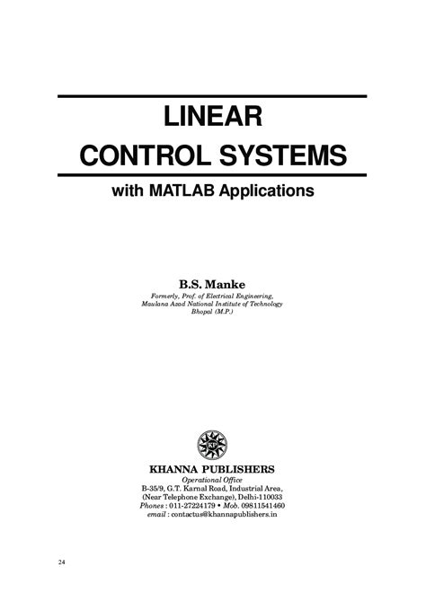 Download Linear Control Systems With Matlab Applications
