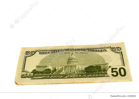 Finance And Currency: Fifty Dollar Bill - Stock Photo