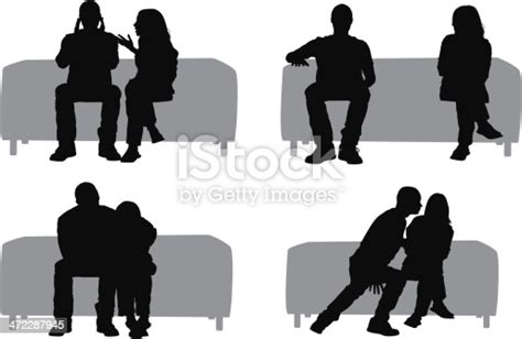 Silhouette Of Couples On A Couch Stock Vector Art & More