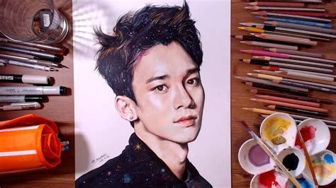 EXO Chen (Kim Jong-dae) - speed drawing | drawholic - YouTube