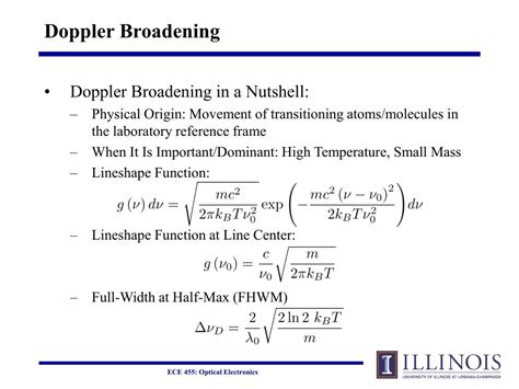 PPT - Lecture #9: Inhomogeneous Broadening, the Laser