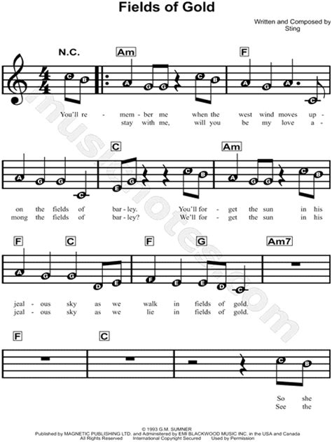 """Sting """"Fields of Gold"""" Sheet Music for Beginners in A"""