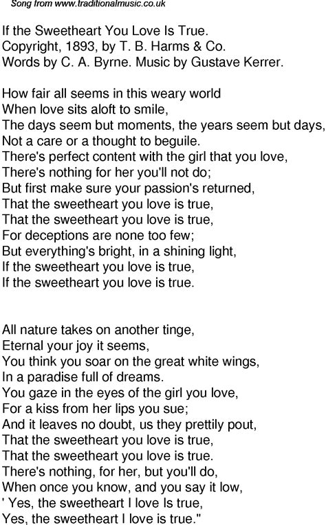 Old Time Song Lyrics for 42 If The Sweetheart You Love Is True