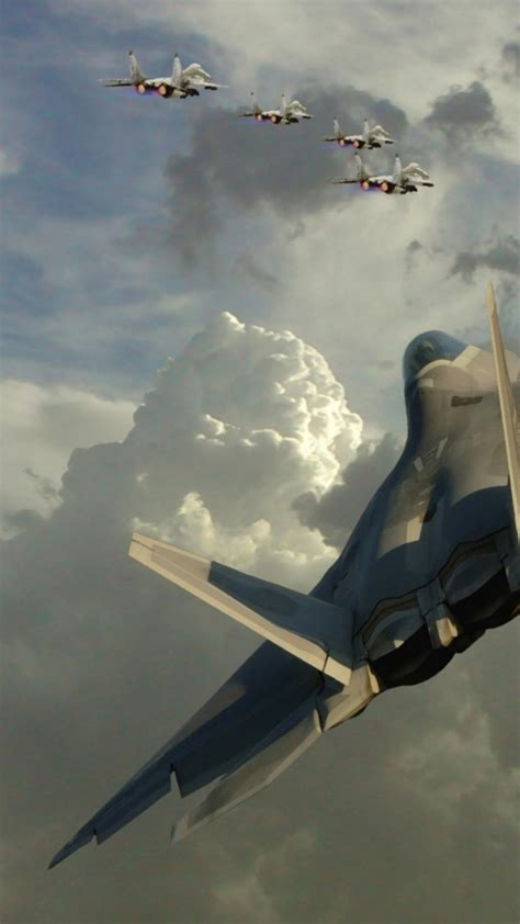F22 raptor aircraft clouds formation jet Wallpaper | (141985)