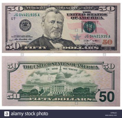 Fifty dollar bill, back and front | Money template