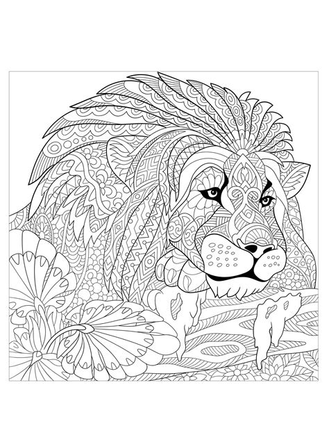 Lion king with patterns - Lions Adult Coloring Pages