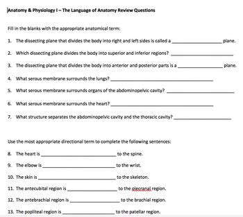 A & P Language of Anatomy Review Questions with Answer Key